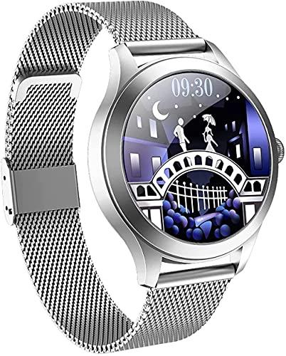 wyingj Reloj inteligente para mujer IP68, resistente al agua, reloj de actividad, pulsera Bluetooth, reloj inteligente, color plateado