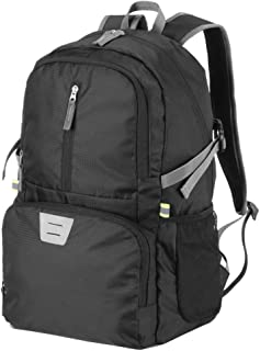 UNCLEGEAR Lightweight Hiking Backpack, Packable Travel Daypack Foldable Nylon Casual Rucksack for Sport School Camping Outdoor 30L Black Backpacks for Men Women