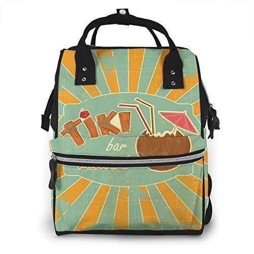 Retro Design Tiki Bar Menu Baby Diaper Bag Backpack,Multi-Function Waterproof Large Capacity Travel Nappy Bags For Mom