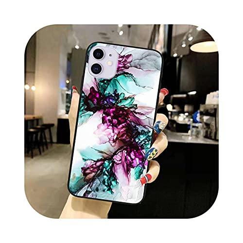 Funda negra con textura de piedra de mármol azul oscuro para iPhone 12 Mini 11 Pro Xr X Xs Max 6S 7 8 Plus 7Plus Funda Case T523-Para Iphone 6 6S