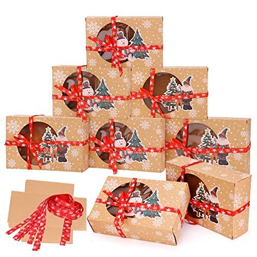 HOWAF 12Stk Keksverpackungen Weihnachten Keksschachtel mit Sichtfenster und DIY Karten, Kekse Verpackung Weinachten Schachtel Deko Geschenk Box Kekstüten Papier Groß Keksschachtel für Plätzchen