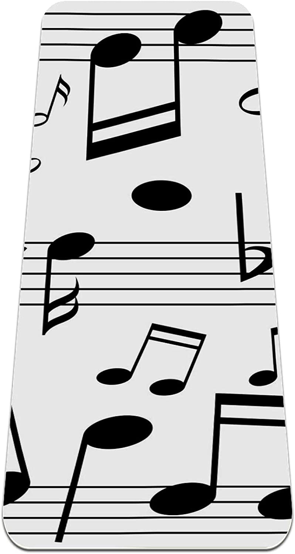 FAAXDIQ Regular dealer Yoga Mat Mail order cheap Music Notes On Line Extra Reversible Scales T