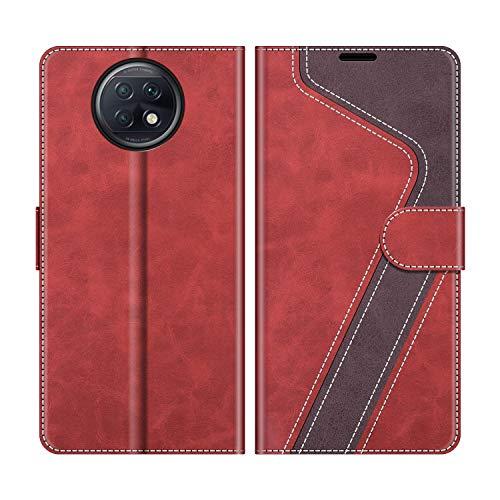 MOBESV Funda para Xiaomi Redmi Note 9T 5G, Funda Libro Xiaomi Redmi Note 9T 5G, Funda Móvil Xiaomi Redmi Note 9T 5G Magnético Carcasa para Xiaomi Redmi Note 9T 5G Funda con Tapa, Rojo