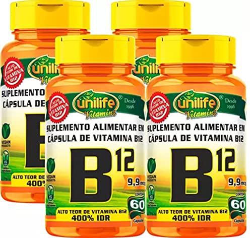 Kit com 4 Frascos de Vitamina B12 Cianocobalamina Unilife 60 Capsulas 450mg