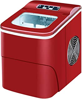 WHJ@ Portable Ice Machine 15kg Daily Use, Countertop Design Ice Machine Home Small Desktop Round Ice Machine Red