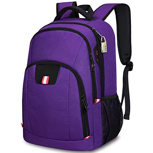 Anti-Theft Laptop Backpack,Business Travel Backpack Bag with USB Charging Slit,Water Resistant College School Computer Rucksack Work Backpack for Girls Womens Fits 15.6 Inch Laptop-Purple