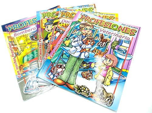 Märchen-Aufkleberbuch, 4er-Pack Mini-Bücher, Tierarzt, Doktorin, Polizei, Feuerwehr, Sprache, Spanisch