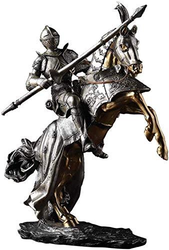 THj Adornos Escultura de Caballero Medieval Estatua de Armadura gótica Retro Samurai Artesanía Creativa Adorno de Oficina en casa