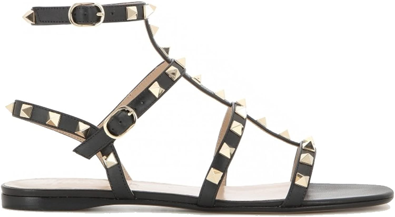 MERUMOTE Women's Rivets Studs Strap Flats Summer Daily Buckle Flat Sandals