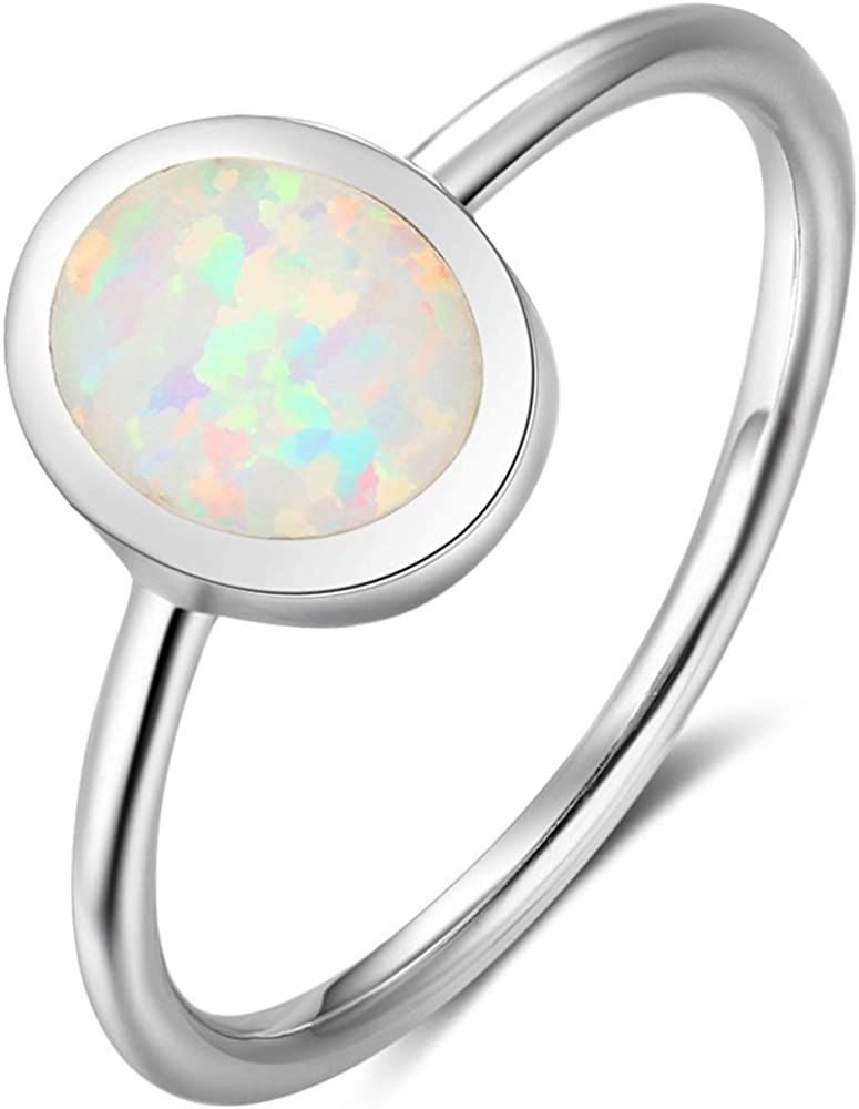 Jude Jewelers Stainless Steel Oval Shape Simulated Fire Opal Wedding Engagement Proposal Ring