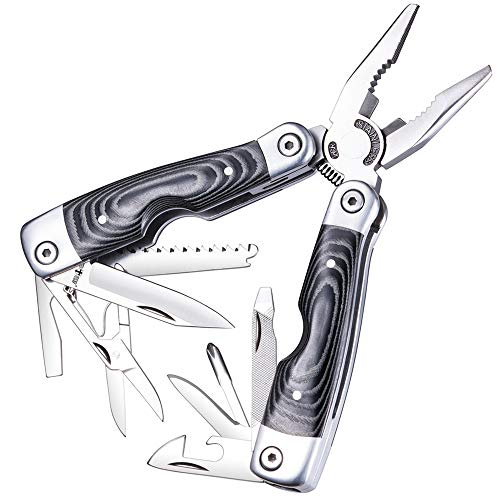 Multitool- Micarta Handle Multi-Tool 13-in-1 with Knife Pliers and Scissors - Utility Tool with...