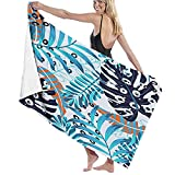 Toallas Verano Azul Hojas de Palma Toallas de Playa Sábana de baño Manta de Playa Liviana sin Arena Secado rápido Envoltura de Toallas Unisex ecológicos130X80 CM