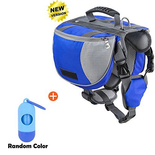 Lifeunion Adjustable Service Dog Supply Backpack Outdoor Hiking Saddle Bag/Dog Poop Pick up Bags Holder Pet Waste Bags Dispenser Includes 15pcs(1 Roll) Poop Bags (Blue Backpack Set, Large)