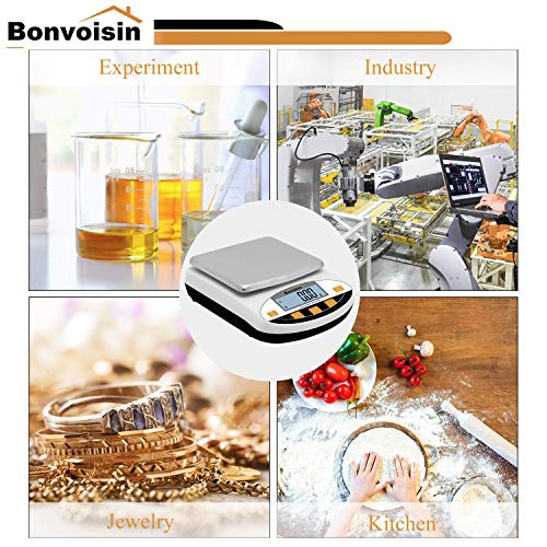 Bonvoisin Lab Scale 5000gx0.01g Digital Precision Analytical Balance 10mg High Precision Electronic Balance Jewelry Scale Kitchen Scale Scientific Scale Laboratory Scale Balance (5000gx0.01g)