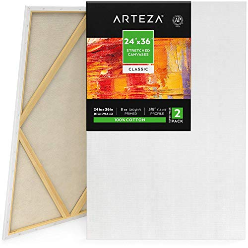 Arteza Stretched Canvas, Pack of 2, 24 x 36 Inches, Blank White Canvases, 100% Cotton, 8 oz Gesso-Primed, Art Supplies for Acrylic Pouring and Oil Painting