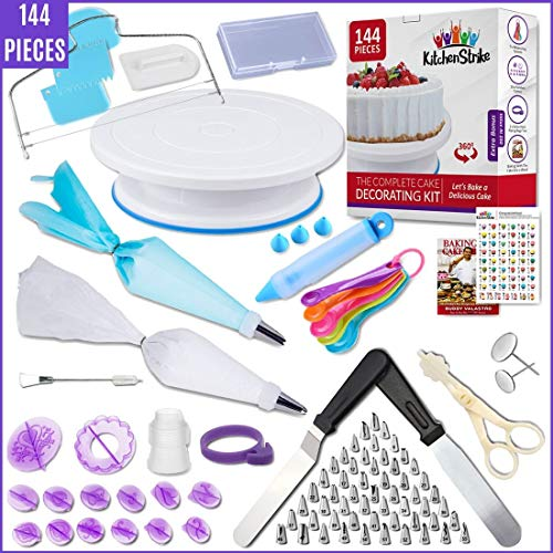 Kitchen Strike Cake Decorating Kit - 144 Piece Baking supplies With Bonus Accessories Of Fondant Tools, Spoons, Piping Bags Tie and eBook - Smooth Cake Turntable Spinner With Non-slip Silicone Base.