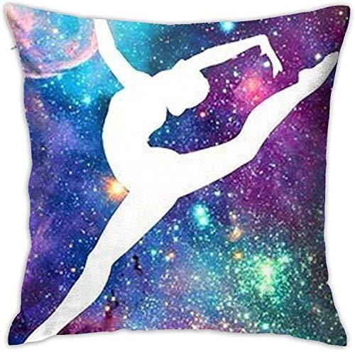 BONRI Funny Galaxy Gymnastic Cremallera Oculta Sofá para el hogar Funda de Almohada Decorativa Funda de cojín Funda de Almohada Impresa con diseño Cuadrado de Dos Lados , (17'x17 / 43x43cm