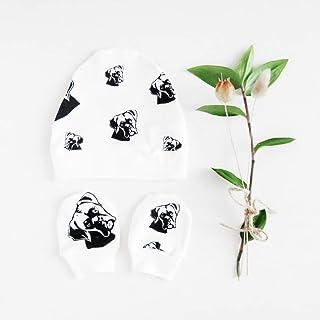 Boxer Print Organic Cotton Baby Beanie Hat And No Scratch Mittens Gender Neutral
