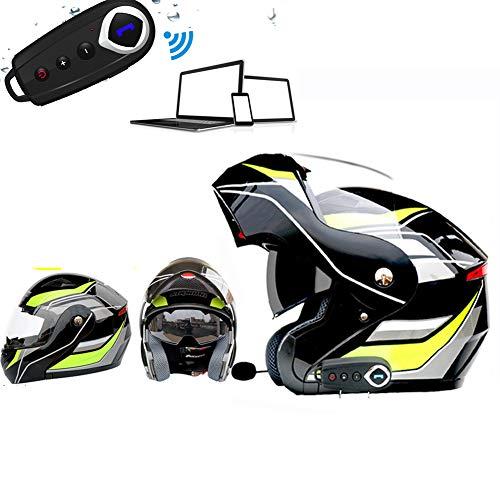 SYXW Casco De Cara Verde Casco Inteligente Casco Inteligente De Moto Casco Bluetooth Resistente Al Agua Adecuado para Montar En Exteriores,Verde,L