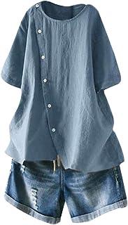 Mallimoda Linnenblouse voor dames, tuniek, zomer, korte mouwen, T-shirt, elegant bovenstuk