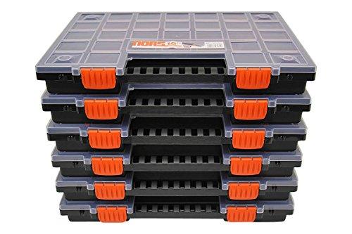 Sortimentskasten Sortierkästen leer Sortimentskoffer Sortierbox Kleinteilemagazin mit Fächer individuell einteilbar für Kleinteile & Werkzeug Organizer im 6er SET ca. 399 x 303 x 50 mm