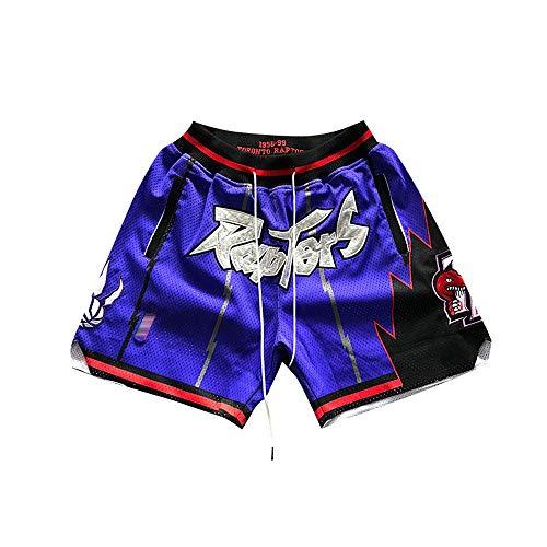 SDSPORT 2019 NBA Raptors NO.2 Leonard Basketball Jersey Pants Men\'s Sports Shorts Purple Embroidery Training Competition Cropped Fans Five Pants