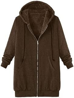 Hooded Pockets Long Coat, QIQIU Womens Plus Size Winter Warm Vintage Plush Solid Loose Long Sleeve Outwear