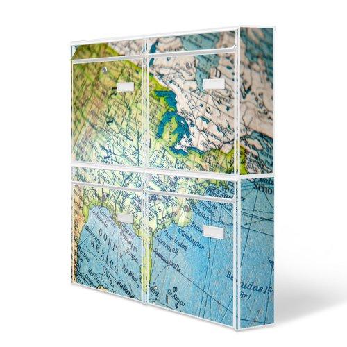 Design Briefkasten Anlage 4 Briefkästen Mailbox mit Motiv: Globus