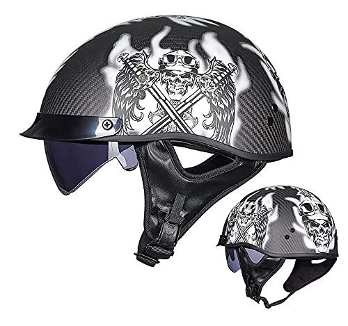 Medio casco de motocicleta, cuenco de casco, casco jet de motocicleta retro, material de fibra de carbono, casco de seguridad anticolisión para scooter, aprobado por DOT/ECE 4,M
