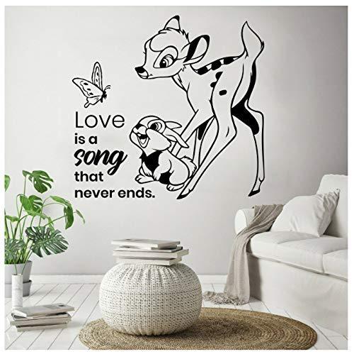 Bambi Cartoon Wandtattoo Leben Zitat Schmetterling Kaninchen Kinder Schlafzimmer Kinderzimmer Home Decor Tür Fenster Vinyl Aufkleber Liebe Wandbild 57X59Cm