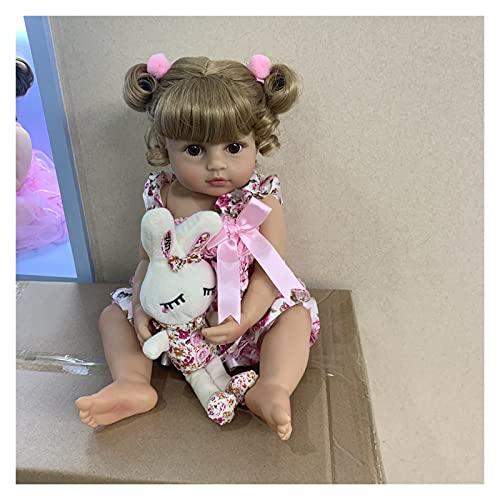55cm NPK NPK Reborn Baby Toddler Girl Girl Princesse Poupée en Jupe Rose Veneelike Very Soft Body Poupée Silicone Poupée Bain Toy Cadeau (Couleur : Blue Eye Doll, Taille : 55CM)