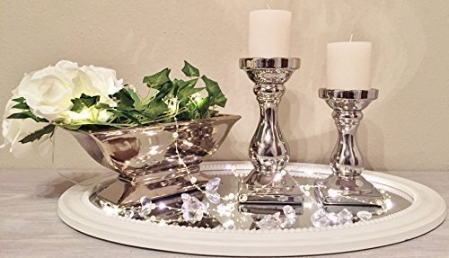 DRULINE SCHICK Kerzenständer Kerzenleuchter Kerzen Stumpenkerzen Silber Keramik (2er Sparset)
