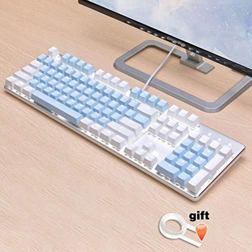 Inglés / PBT Languag KeyCaps opciones de color rusos Variedad de cereza MX teclado mecánico de teclas puede activar tapa 108 Keyscaps,azul ABS