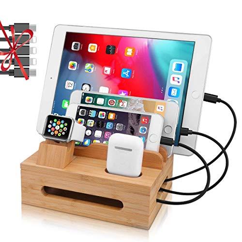 5-Port USB Ladestation Mehrfach, MHOM Bambus Dockingstation für mehrere Geräte, USB Ladegerät Ständer Dock Organizer mit Uhrenständer und 5 USB Ladekabel für Apple Watch, iPhone, iPad, iWatch, Tablet