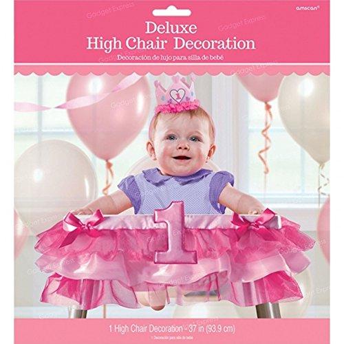 1. Geburtstag für Mädchen, Rosa, Runner Hochstuhl Treppenhochstuhl Baby-Party-Deko zum Aufhängen