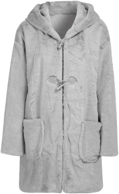 Gotd Women Winter Soft Wart Faux Fur Plush Long Coat Hooded Ears Autumn Spring Plus Size (M, Pink)