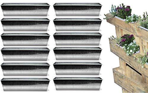 Bada Bing 12er Set Pflanzschale für Palette Verzinktes Metall Blumenkasten Zink Einsatz für Europalette Pflanzschale Pflanztopf Kräuterkasten Deko Garten Trend 47
