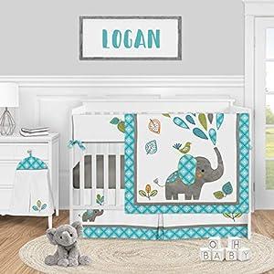 Sweet Jojo Designs Mod Elephant Baby Boy or Girl Nursery Crib Bedding Set – 5 Pieces – Turquoise Blue, Green, and Grey Safari Animal