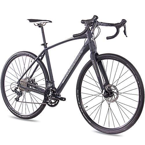 CHRISSON 28 Zoll Gravel Bike Road One schwarz matt 56 cm, Cyclocross Fahrrad mit 18 Gang Shimano Sora, Cross Rennrad für Damen und Herren