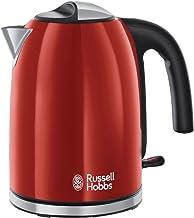 Russell Hobbs Colours Plus+ Flame Red Waterkoker Rood (1,7L), Snelkookfunctie, Zuinig, 2400 Watt, RVS, Hoogglans Afwerking...