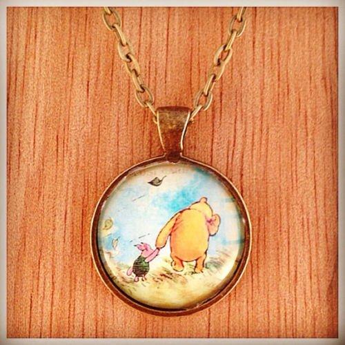 Winnie the Pooh und Piglet Vintage Bronze Glas Halskette, Foto-Halskette, Metall und Glas Schmuck, Bild Anhänger, Halskette, Foto Anhänger