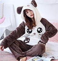 2個/ロット冬のパジャマをセット女性の寝室暖かいフランネル長袖サンゴのピジャマピンク厚い家庭用パジャマスプリーウェア (Color : Color 17, Size : Large)