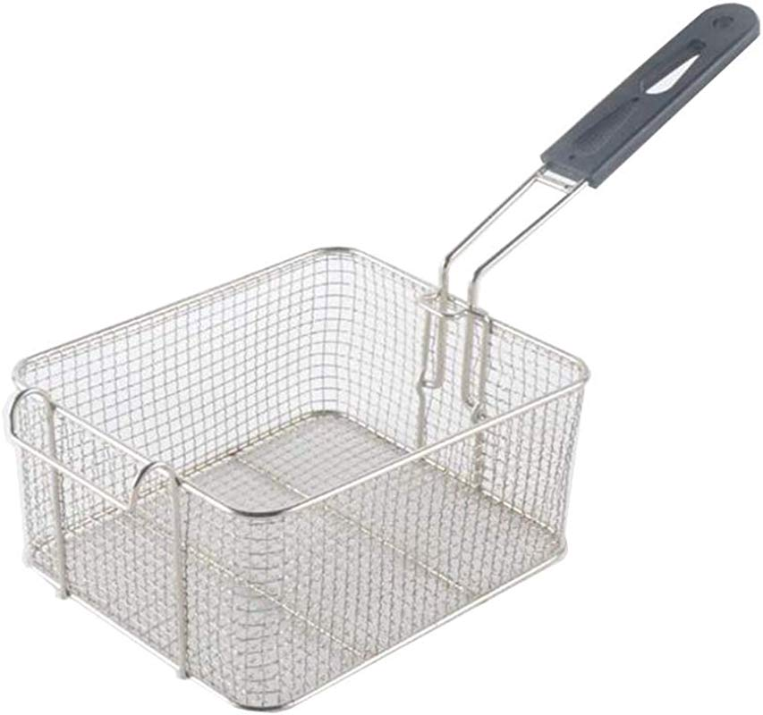 Stainless Steel Square Fry Basket With Rubber Handle Grip