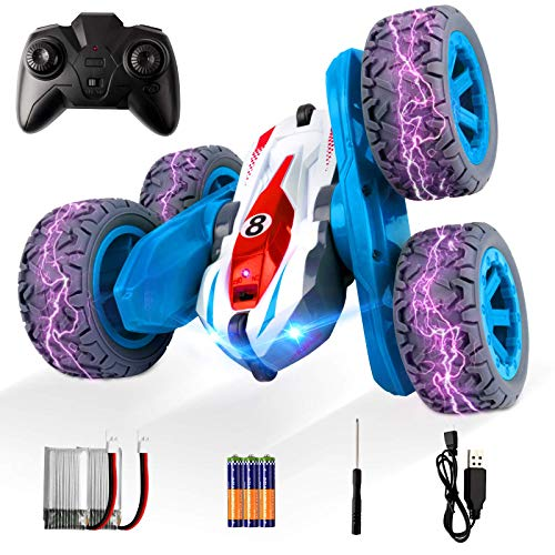 ADDSMILE Remote Control Car for Boys Girls, RC Stunt Car 4WD 2.4Ghz Double Sided 360° Rotating RC Cars High Speed Vehicle Toy with Headlights for Kids Over 4 Years Old (All Batteries Included) (Blue)