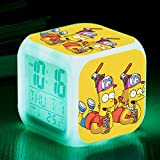 N/Z Gifts for childrenThe Simpsons Colorful Color Alarm Clock LED Mute Small Alarm Clock Gift Quartet,Number 8