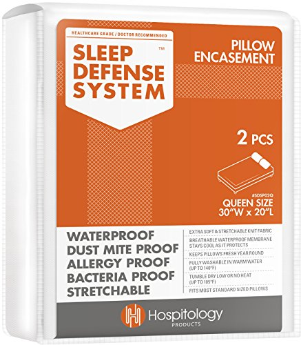 HOSPITOLOGY PRODUCTS Sleep Defense System - Zippered Pillow Encasement - Queen - Hypoallergenic Protector - Waterproof - Bed Bug & Dust Mite Proof - Set of 2-20' H x 30' W