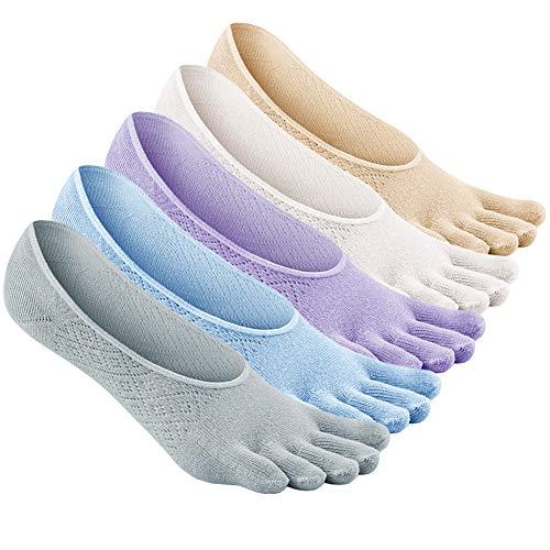 LOFIR Calcetines Cortos de Algodón para Mujer Calcetines Invisibles con Dedos Separados, Calcetines Bajos Tobilleros de Cinco 5 Dedos de Deporte para Mujer, Talla 35-41, 5 pares