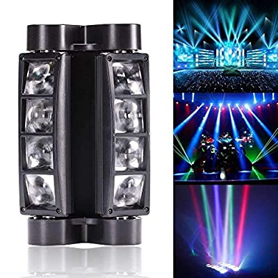 Top-UKing Stage Lights Moving Head Sound and DMX Control LED RGBW 4 in 1 Color 8LEDs Spider lights stage music lighting for Bar Club Dj Disco Home Party Show (60W)
