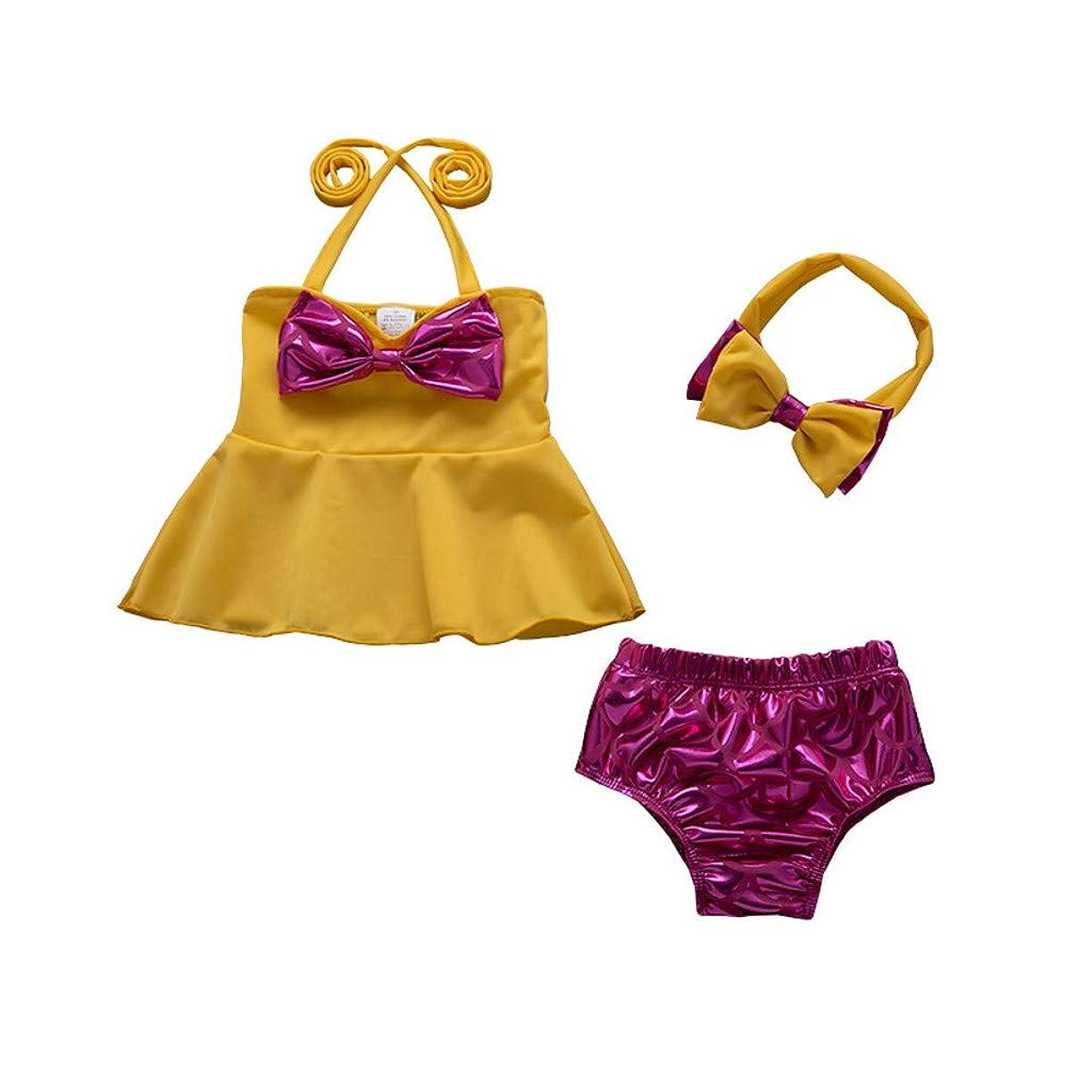 修羅場側溝かすかな幼児の女の子のビキニソリッドカラーフリル蝶結びスリング分割水着かわいい通気性のビーチウェア