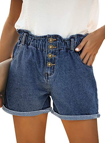luvamia Women's Casual High Waisted Rolled Hem Denim Shorts Elastic Waist Button Closure Jean Shorts with Pockets Summer Denim Shorts Denim Blue Size Large